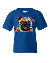 Adorable Cute Pug Youth T-Shirt Dean Russo Funny Colorful Neon Pet Pup Kids Tee