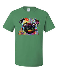 Adorable Cute Pug T-Shirt Dean Russo Funny Colorful Neon Pet Pup Tee Shirt