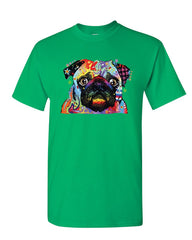 Adorable Cute Pug T-Shirt Dean Russo Funny Colorful Neon Pet Pup Mens Tee Shirt