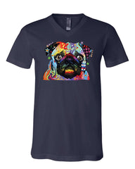 Adorable Cute Pug V-Neck T-Shirt Dean Russo Funny Colorful Neon Pet Pup Tee