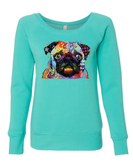 Adorable Cute Pug Women's Sweatshirt Dean Russo Funny Colorful Neon Pet Pup