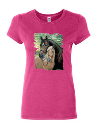 Pair of Horses Women's T-Shirt Mustangs Horseback Riding Pony Stallion Shirt