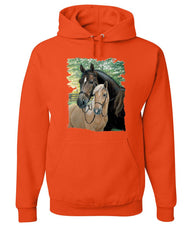 Pair of Horses Hoodie Mustangs Horseback Riding Pony Stallion Sweatshirt