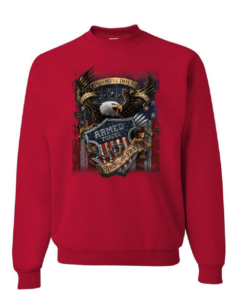 brand new d3bbf 8e6bb Armed Forces Bald Eagle Sweatshirt Army This We'll Defend US Flag Sweater