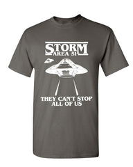 Storm Area 51 They Can't Stop All of Us T-Shirt Flying Saucer Mens Tee Shirt