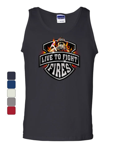 Live To Fight Fires Tank Top Firefighter Volunteer FD Sleeveless