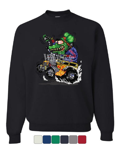 8 Ball Yellow Hot Rod Sweatshirt Crazy Green Monster Rat Muscle Car Sweater
