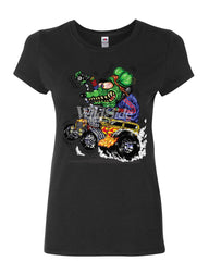 8 Ball Yellow Hot Rod Women's T-Shirt Crazy Green Monster Rat Muscle Car Shirt