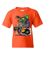 8 Ball Yellow Hot Rod Youth T-Shirt Crazy Green Monster Rat Muscle Car Kids Tee