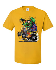 8 Ball Yellow Hot Rod T-Shirt Crazy Green Monster Rat Muscle Car Tee Shirt