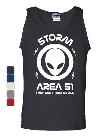 Storm Area 51 They Can't Take Us All Tank Top Funny Aliens UFO Sleeveless