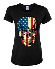 American Flag Skull Women's T-Shirt Badass Stars And Stripes 4th of July Tee