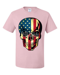 American Flag Skull T-Shirt Badass Stars And Stripes 4th of July Tee Shirt