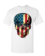 American Flag Skull T-Shirt Badass Stars And Stripes 4th of July Mens Tee Shirt