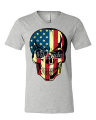 American Flag Skull V-Neck T-Shirt Badass Stars And Stripes 4th of July Tee