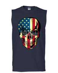 American Flag Skull Muscle Shirt Badass Stars And Stripes 4th of July Sleeveless