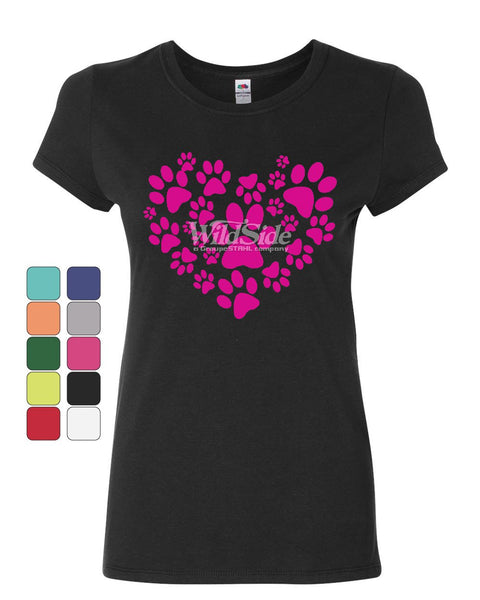 Animal Paws Heart Women's T-Shirt Cute Adorable Dog Lovers Animal Rescue Shirt
