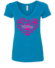 Animal Paws Heart Women's V-Neck T-Shirt Cute Adorable Dog Lovers Animal Rescue