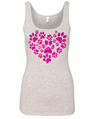 Animal Paws Heart Women's Tank Top Cute Adorable Dog Lovers Animal Rescue Top