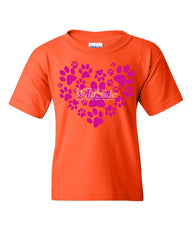 Animal Paws Heart Youth T-Shirt Cute Adorable Dog Lovers Animal Rescue Kids Tee