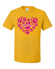 Animal Paws Heart T-Shirt Cute Adorable Dog Lovers Animal Rescue Tee Shirt
