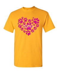 Animal Paws Heart T-Shirt Cute Adorable Dog Lovers Animal Rescue Mens Tee Shirt