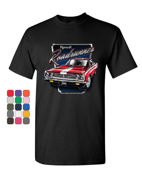 17fcf7fc Plymouth Roadrunner T-Shirt American Muscle Car Classic Route 66 Mens