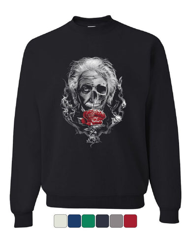 Albert Einstein Skull Face Sweatshirt Urban Rose Genius Scientist Sweater