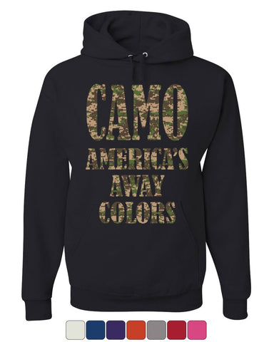 Camo America's Away Colors Hoodie Funny Patriotic Military USA Sweatshirt