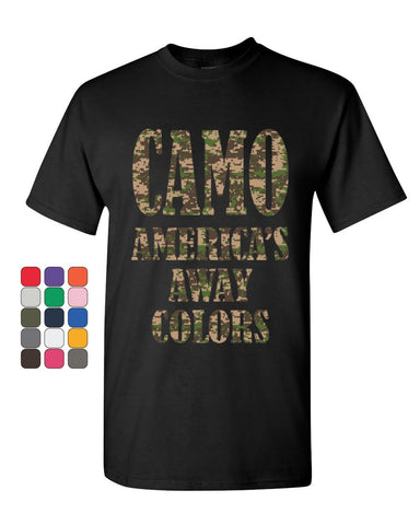 Camo America's Away Colors T-Shirt Funny Patriotic Military USA Mens Tee Shirt
