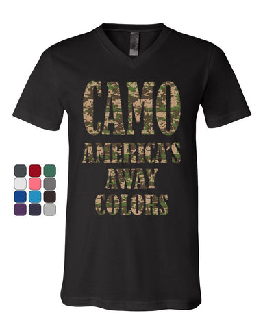 Camo America's Away Colors V-Neck T-Shirt Funny Patriotic Military USA Tee