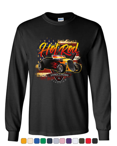 1933 Roadster Hot Rod American Flag Long Sleeve T-Shirt Street Rods Classics Tee