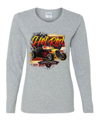 1933 Roadster Hot Rod American Flag Women's Long Sleeve Tee Street Rods Classics