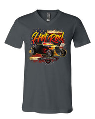 1933 Roadster Hot Rod American Flag V-Neck T-Shirt Street Rods Classics Tee