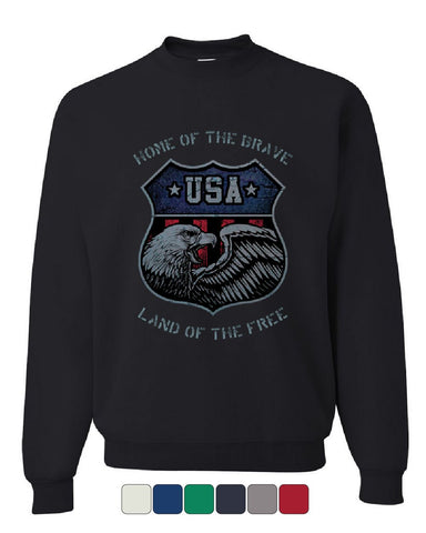USA Shield Patriotic Sweatshirt Home of the Brave Land of the Free Sweater