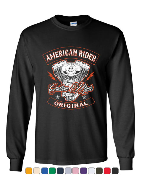 American Rider Long Sleeve T-Shirt Custom Made Motorcycle Route 66 Tee
