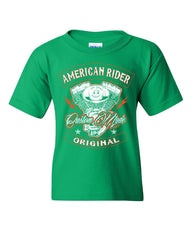 American Rider Youth T-Shirt Custom Made Motorcycle Route 66 Kids Tee