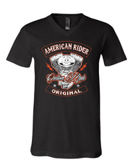 American Rider V-Neck T-Shirt Custom Made Motorcycle Route 66 Tee