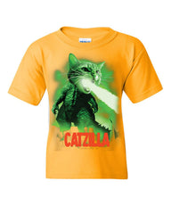 Catzilla Funny Parody Youth T-Shirt Cat Kitten Pet Atomic Breath Kids Tee
