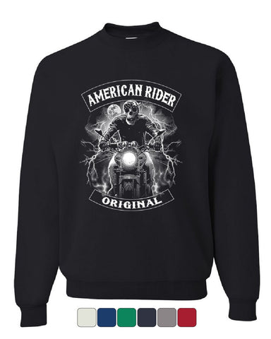 Original American Rider Sweatshirt Skull Face Route 66 Biker MC Sweater