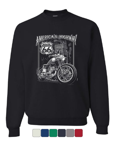 America's Highway Sweatshirt Route 66 MC Motorcycle Chopper Bobber Sweater
