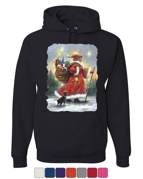 Santa Claus Christmas Eve Hoodie Holiday Spirit Xmas Rudolph Sweatshirt