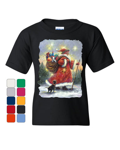 Santa Claus Christmas Eve Youth T-Shirt Holiday Spirit Xmas Rudolph Kids Tee