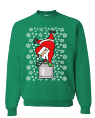 Santa Claus Keg Stand Drinking Beer Sweatshirt Christmas Xmas Ugly Sweater