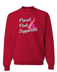 Proud Pink Supporter Sweatshirt Breast Cancer Awareness Ribbon Hope Sweater