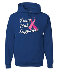 Proud Pink Supporter Hoodie Breast Cancer Awareness Ribbon Hope Sweatshirt