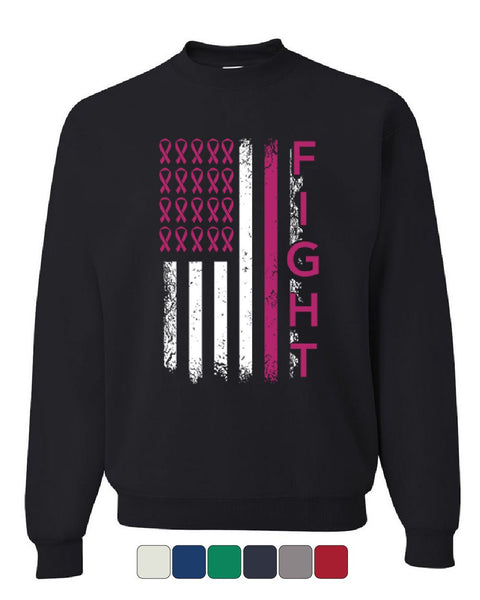 Fight Breast Cancer American Flag Sweatshirt Awareness Pink Ribbon Sweater