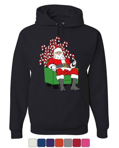 Santa Claus on Candy Throne Hoodie Funny Parody Christmas Xmas Sweatshirt