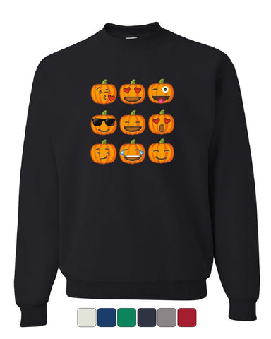 Pumpkin Emojis Sweatshirt Halloween Smiley Faces Trick-or-Treat Sweater
