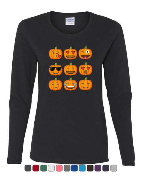 3b9fc4e5e Pumpkin Emojis Women's Long Sleeve Tee Halloween Smiley Faces Trick-or